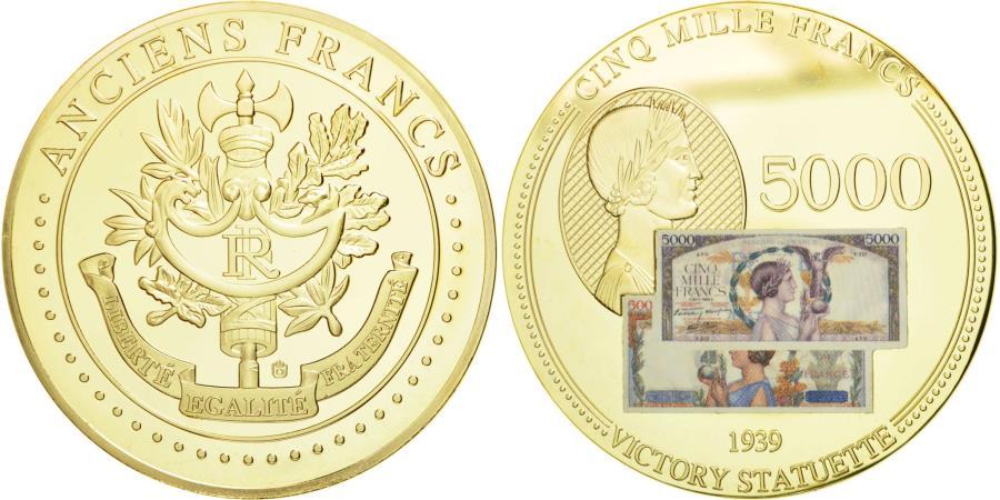 World Coins - France, Medal, Les Anciens Francs, billet de 5000 Francs Victoire, MS(65-70)