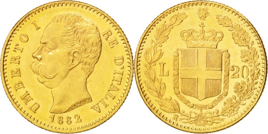 World Coins - Italy, Umberto I, 20 Lire, 1882, Rome, , Gold, KM:21