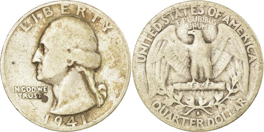 US Coins - Coin, United States, Washington Quarter, Quarter, 1941, U.S. Mint, San