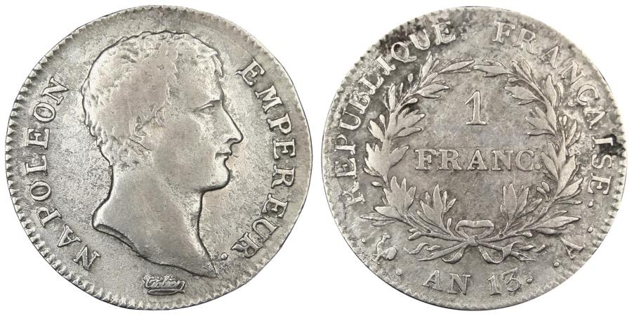 World Coins - FRANCE, Napoléon I, Franc, 1804, Paris, KM #656.1, , Silver, Gadoury #.