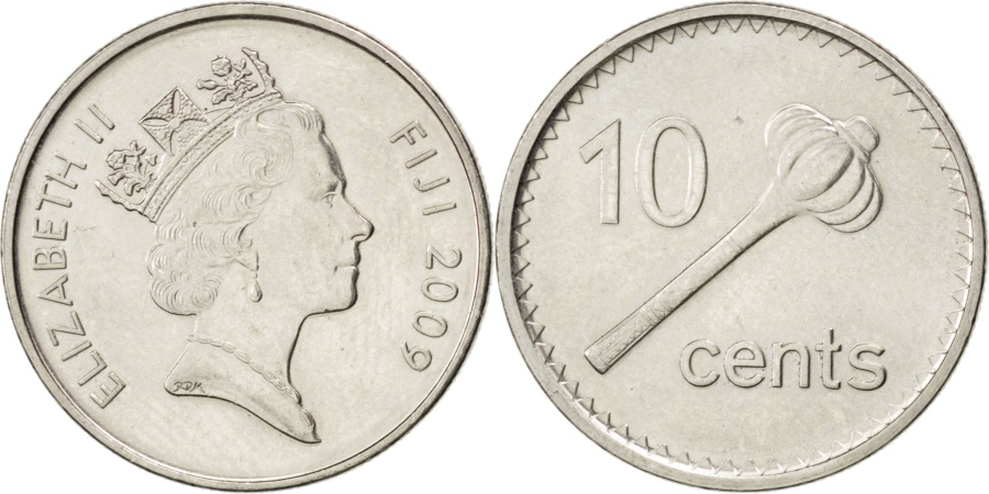World Coins - FIJI, 10 Cents, 2009, KM #120, , Nickel Plated Steel, 21.5, 3.58