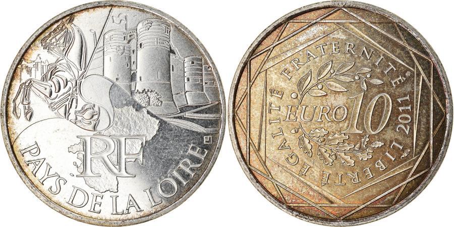 World Coins - France, 10 Euro, Pays de la Loire, 2011, , Silver, KM:1746
