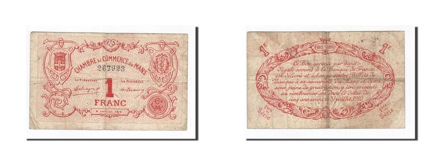 World Coins - France, Le Mans, 1 Franc, 1915, VF(30-35), Pirot:69-5