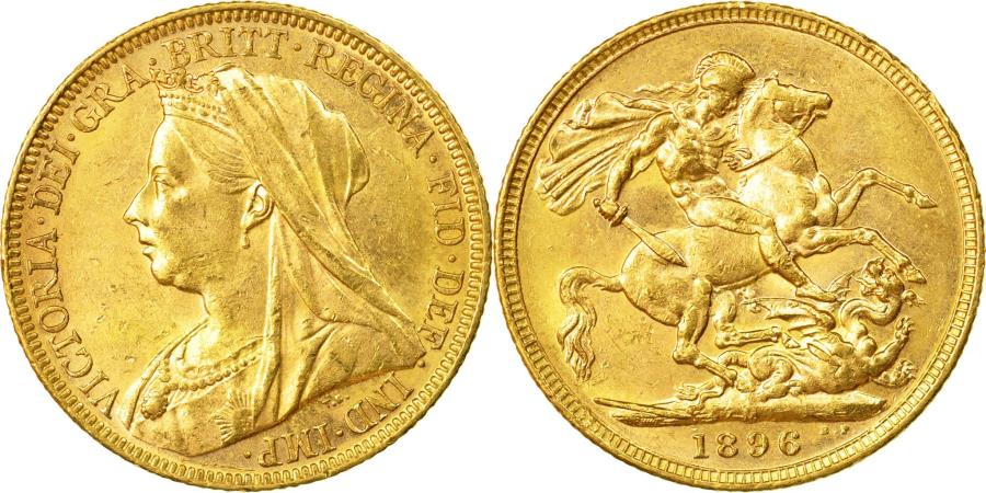 World Coins - Coin, Great Britain, Victoria, Sovereign, 1896, , Gold, KM:785