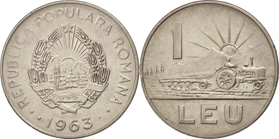 World Coins - Romania, Leu, 1963, , Nickel Clad Steel, KM:90