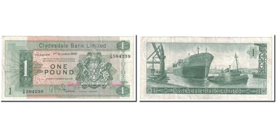 World Coins - Banknote, Scotland, 1 Pound, 1968, 1968-10-01, KM:202, VF(20-25)