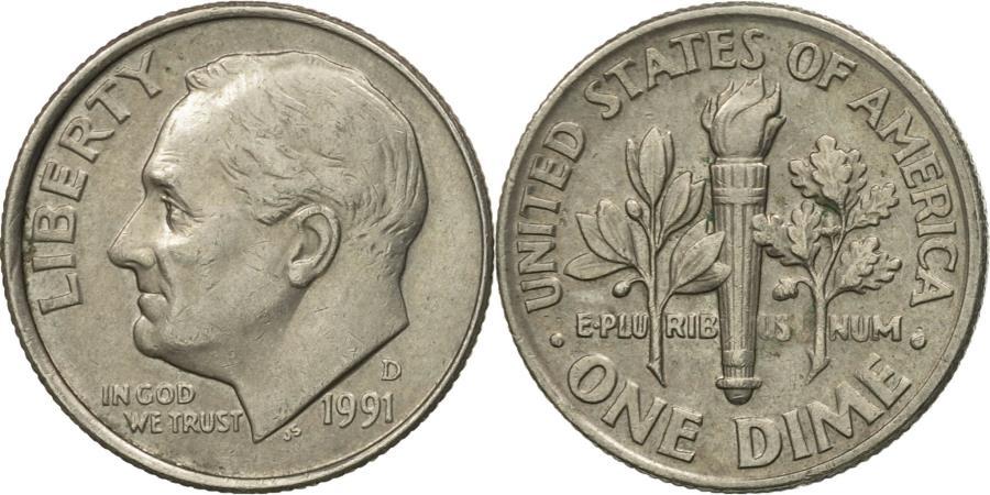 US Coins - Coin, United States, Roosevelt Dime, Dime, 1991, U.S. Mint, Denver,