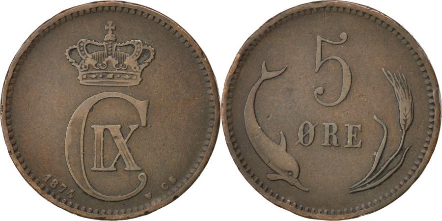 World Coins - DENMARK, 5 Ore, 1874, KM #794.1, , Bronze, 7.72