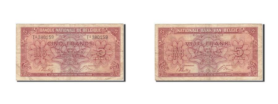 World Coins - Belgium, 5 Francs-1 Belga, 1943-1945, KM:121, 1943-02-01, VF(20-25)