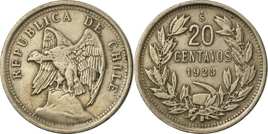 Coin Chile 20 Centavos 1923 Copper Nickel Km 167 1 South American Coins