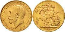 South Africa, George V, Sovereign, 1925, AU(50-53), Gold, KM:21