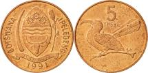 World Coins - Botswana, 5 Thebe, 1991, AU(55-58), Copper Plated Steel, KM:4a.1