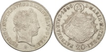 World Coins - Austria, Ferdinand I, 20 Kreuzer, 1848, MS(60-62), Silver, KM:2208
