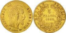 World Coins - France, Napoleon III, 5 Francs, 1860, Paris, VF(30-35), Gold, KM 787.1