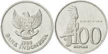 World Coins - Indonesia, 100 Rupiah, 1999, AU(55-58), Aluminum, KM:61
