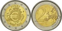 Spain, 2 Euro, 10 years euro, 2012, MS(63), Bi-Metallic