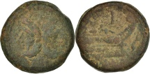 Ancient Coins - As, 209-208, Sicily, Dolphin series, F(12-15), Copper