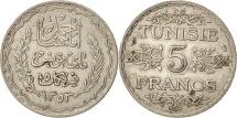 World Coins - Tunisia, Ahmad Pasha Bey, 5 Francs, 1934, Paris, EF(40-45), Silver, KM:261