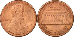 Us Coins - United States, Lincoln Cent, 1988, Denver, , KM:201b
