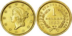 Us Coins - Coin, United States, Liberty Head Dollar, 1853, Philadelphia, AU(50-53), Gold