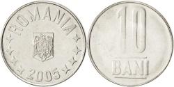 World Coins - ROMANIA, 10 Bani, 2005, Bucharest, KM #191, , Nickel Plated Steel, 20.4,..