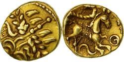 Coin, Suessiones, 1/4 Stater, Rare, AU(50-53), Gold, Delestrée:330