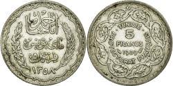 World Coins - Coin, Tunisia, Ahmad Pasha Bey, 5 Francs, 1939, Paris, MS(60-62), Silver, KM:264