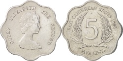 World Coins - East Caribbean States, Elizabeth II, 5 Cents, 1984, , Aluminum, KM:12
