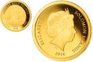 World Coins - Coin, Solomon Islands, Elizabeth II, ancient gold solidus, 10 Dollars, 2014