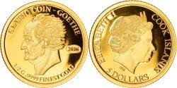 World Coins - Coin, Cook Islands, Elizabeth II, classic coin - Goethe, 5 Dollars, 2016