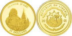 World Coins - LIBERIA, 25 Dollars, 2001, American Mint, KM #634, MS(65-70), Gold, 11.1, 0.72