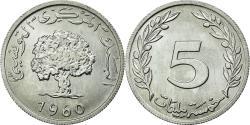 World Coins - Coin, Tunisia, 5 Millim, 1960, MS(63), Aluminum, KM:282