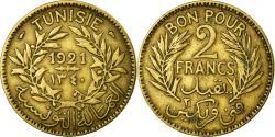 World Coins - Coin, Tunisia, Anonymous, 2 Francs, 1921, Paris, EF(40-45), Aluminum-Bronze