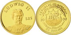 World Coins - Liberia, 25 Dollars, Ludwig II, 2000, MS(65-70), Gold