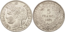 World Coins - France, Cérès, 5 Francs, 1851, Paris, AU(50-53), Silver, KM:761.1, Gadoury:683