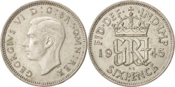 World Coins - Great Britain, George VI, 6 Pence, 1945, AU(55-58), Silver, KM:852