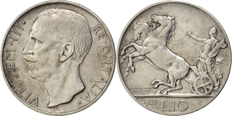 World Coins - ITALY, 10 Lire, 1927, Rome, KM #68.2, , Silver, 10.01