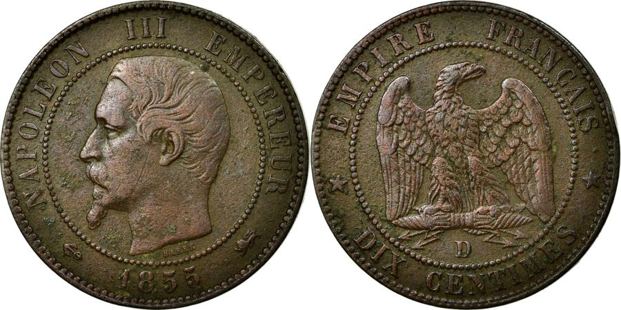 World Coins - Coin, France, Napoleon III, Napoléon III, 10 Centimes, 1855, Lyon, VF(30-35)