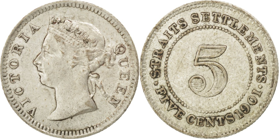 World Coins - Straits Settlements, 5 Cents, 1901, KM #10, , Silver, 15, 1.36