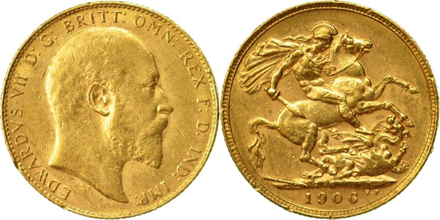 Coin, Great Britain, Edward VII, Sovereign, 1906, , Gold, KM:805