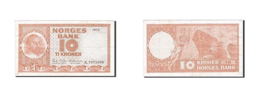 World Coins - Norway, 10 Kroner, 1948-1955, 1970, KM:31e, EF(40-45)