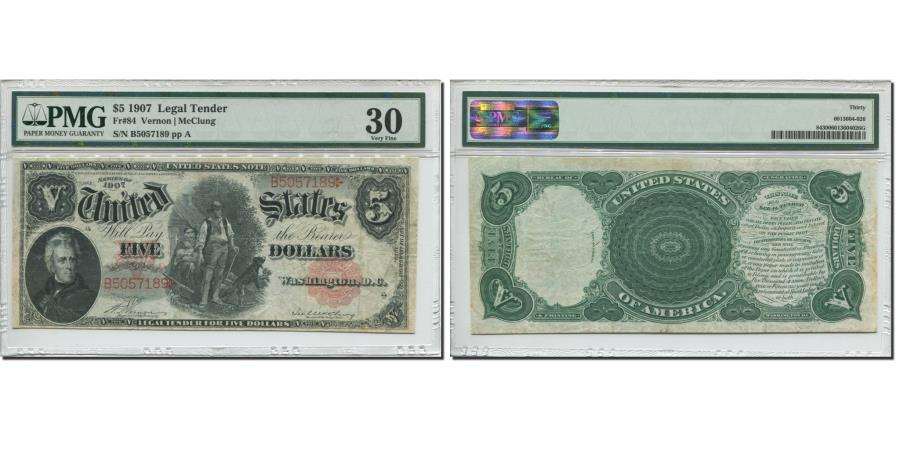 US Coins - Banknote, United States, Five Dollars, 1907, 1907, KM:214, graded, PMG