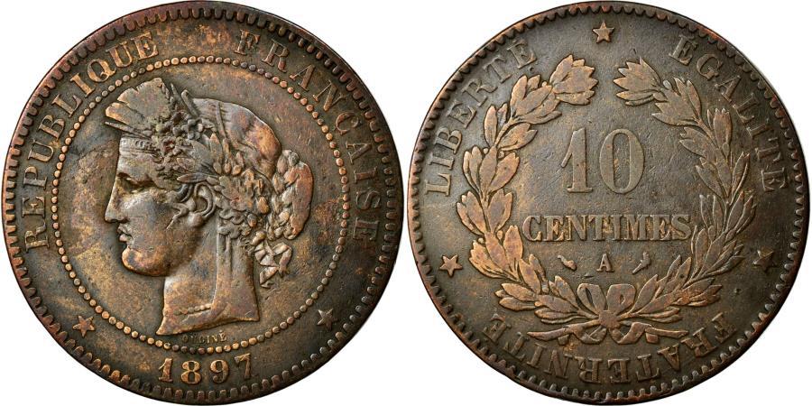 World Coins - Coin, France, Cérès, 10 Centimes, 1897, Paris, VF(30-35), Bronze, KM:815.1