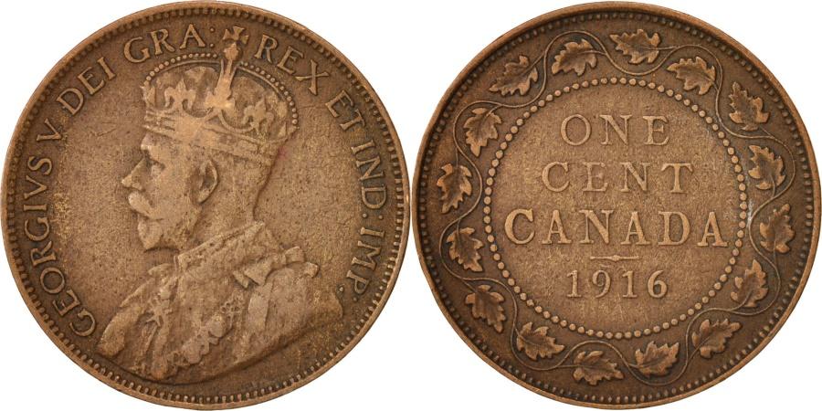 World Coins - Canada, George V, Cent, 1916, Royal Canadian Mint, Ottawa, , Bronze