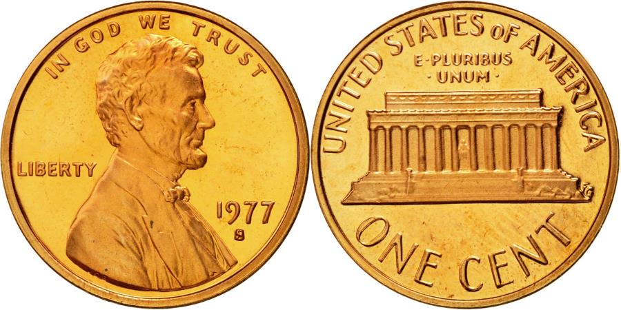 US Coins - Coin, United States, Lincoln Cent, Cent, 1977, U.S. Mint, San Francisco,