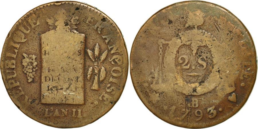 World Coins - Coin, France, 2 sols aux balances daté, 2 Sols, 1793, Strasbourg, VG(8-10)