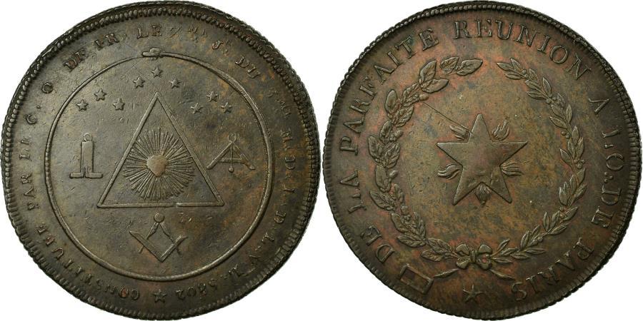 World Coins - France, Token, Masonic, Loge de la Parfaite Réunion, Orient de Paris, 1802