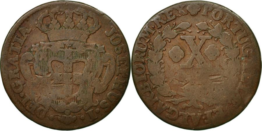World Coins - Coin, Portugal, Jo, 10 Reis, X; 1/2 Vinten, , Copper, KM:227