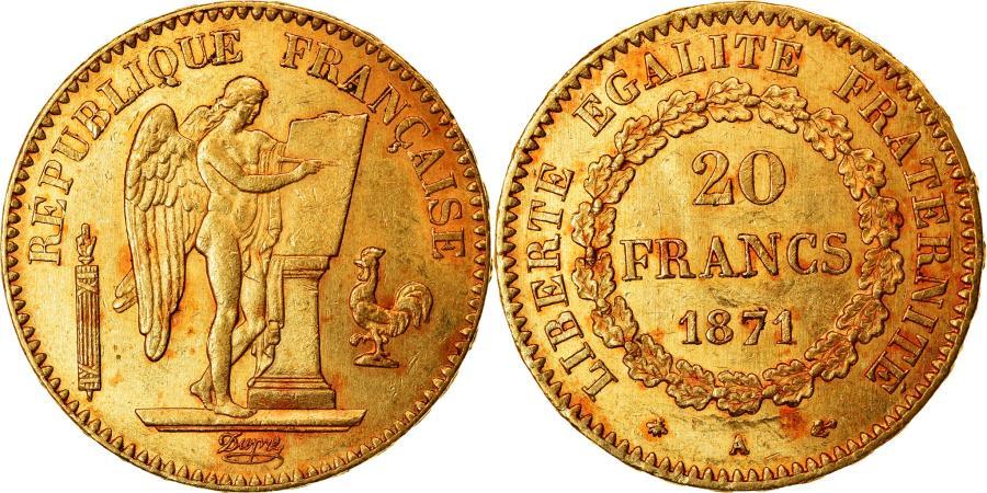 World Coins - Coin, France, Génie, 20 Francs, 1871, Paris, , Gold, KM:825