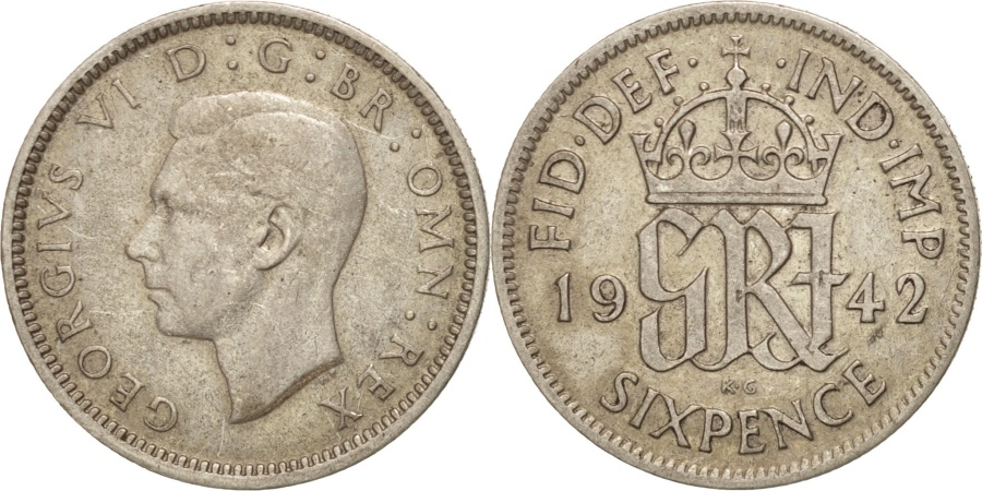 World Coins - Great Britain, George VI, 6 Pence, 1942, , Silver, KM:852
